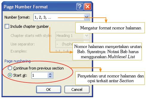 Dialog box pengaturan nomor halaman.