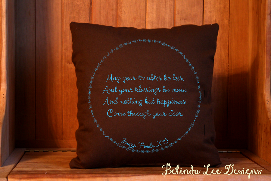 Housewarming Gift May Your Troubles Be Less Pillow | Personalized with Name and Date | 16 x 16 inch Insert + US Shipping Included | Belinda Lee Designs