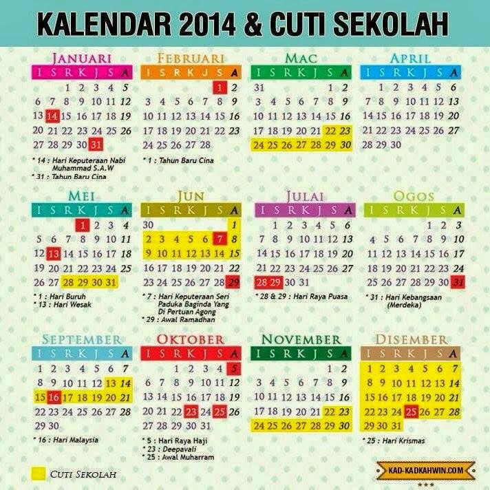 Kalender 2014 Malaysia Cuti Sekolah