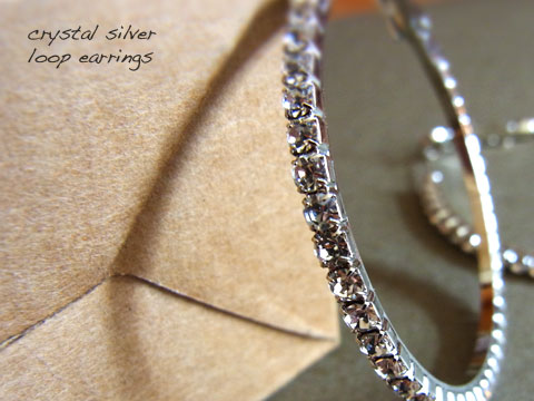 Crystal Silver loop earrings