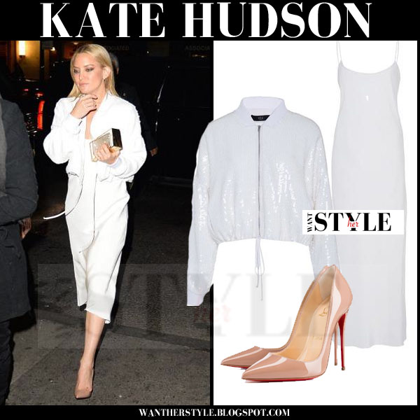 Kate Hudson in white midi tibi bias dress, white bomber tibi jacket and beige Louboutin So Kate pumps what she wore october 2015