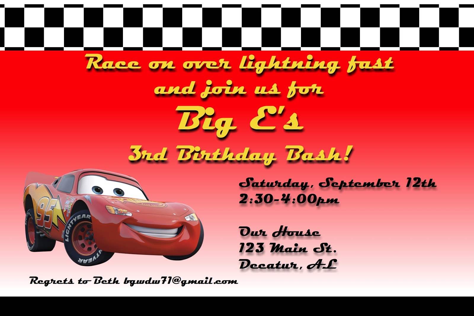 A Disney Mom\'s Thoughts: Car\'s Birthday Party Invitation | A Disney ...