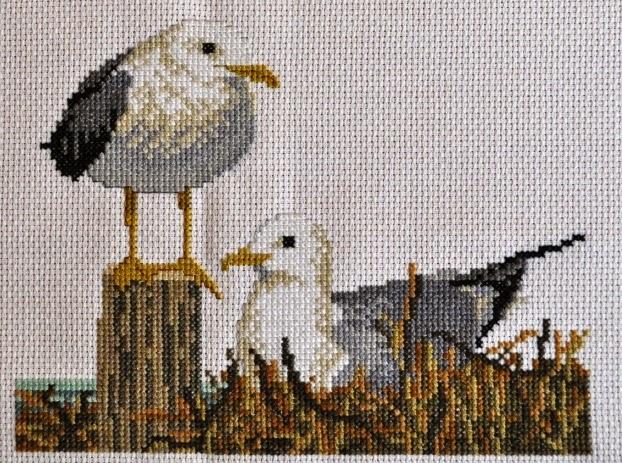 вышивание крестиком, чайки,