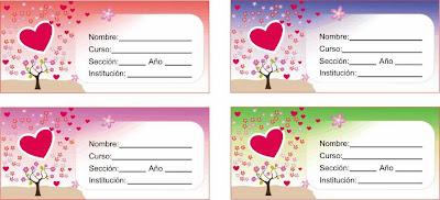 cuatro etiquetas con corazon rojo