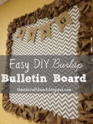 Diy burlap bulletin board for Diy fabric bulletin board ideas