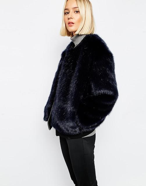 black fur bomber coat,
