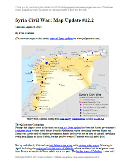 Map of territorial control in Syria's civil war, updated for April 2014. Shows control by government, rebels, ISIS extremists, and Kurdish militias. Includes important sites of recent fighting such as Yabroud, Maloula, Kasab, Azaz, Morek, Al Bukamal, and more.