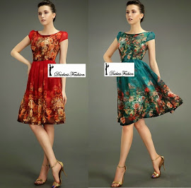 Short Sleeve Chiffon Art Floral Knee Length Dress