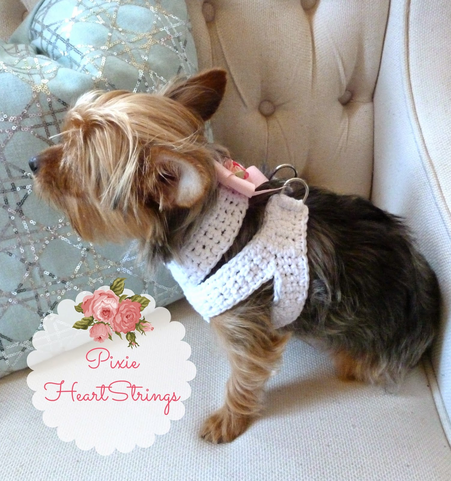 Free Crochet Pattern For Dog Harness : Pixie HeartStrings: A Crocheted Dog Harness for Your Tiny ...