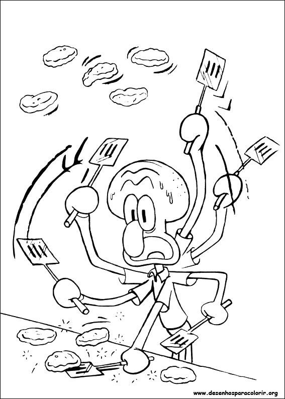 a desenhar Bob esponja calsa quadrada com violão para copiar colorir