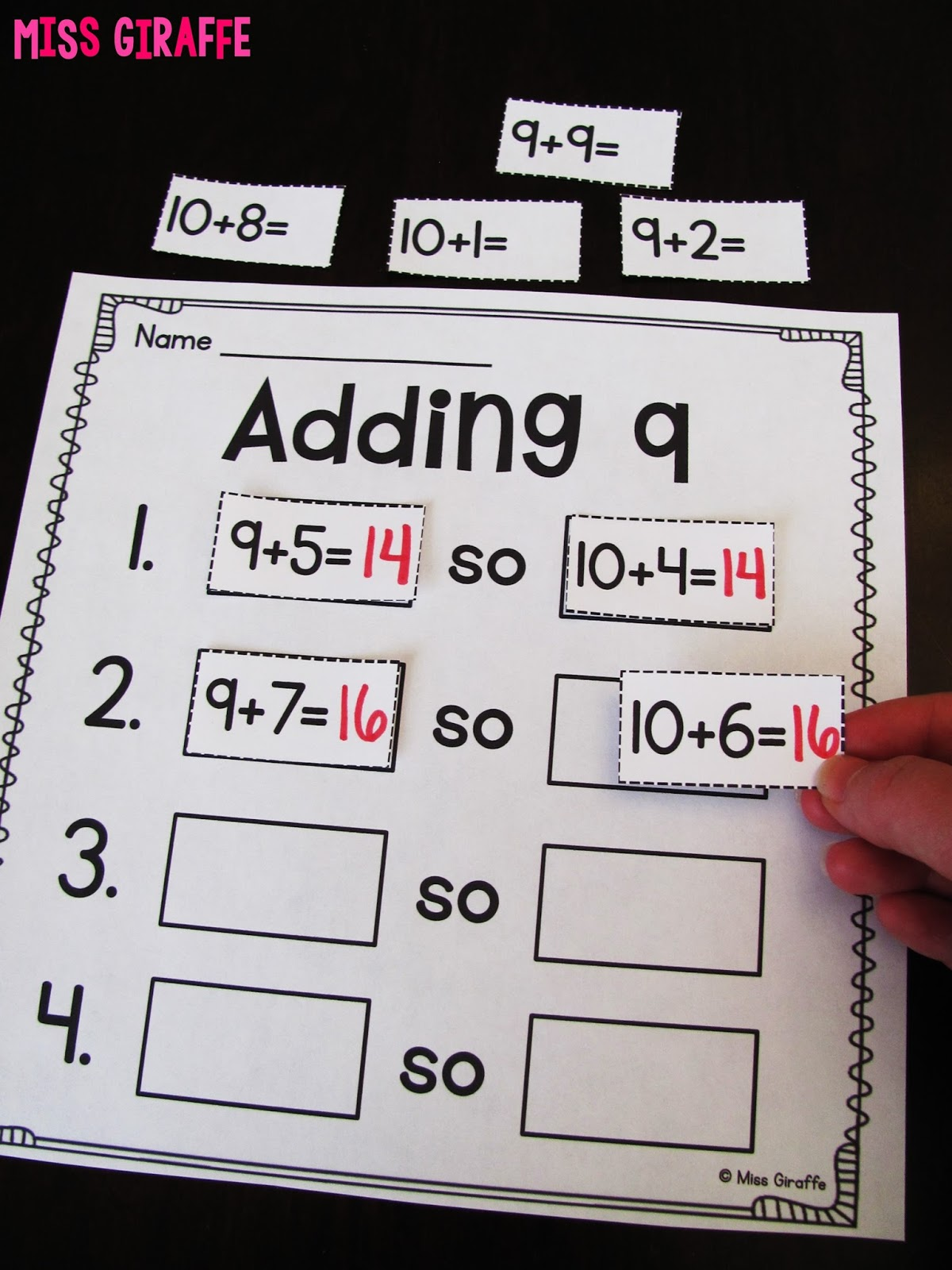 worksheet Ways To Make A Number Worksheet miss giraffes class making a 10 to add adding 9 by addition strategy and lots of other fun ways teach