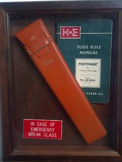 framed slide rule with in case of emergency break glass sign