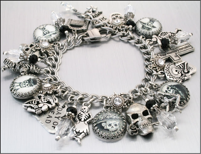 day of the dead jewelry, day of the dead charm bracelet, day of the dead bracelet, dia de muertos jewelry, mexican holiday jewelry