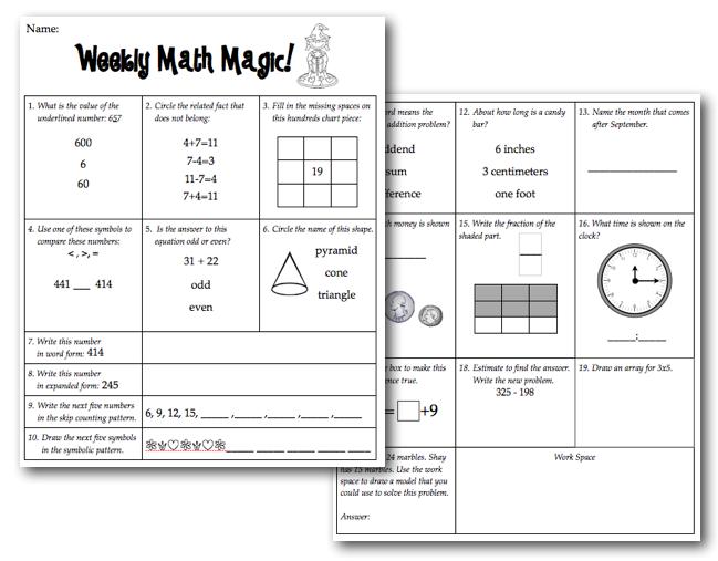 Weekly Math Magic Freebie Sunny Days In Second Grade