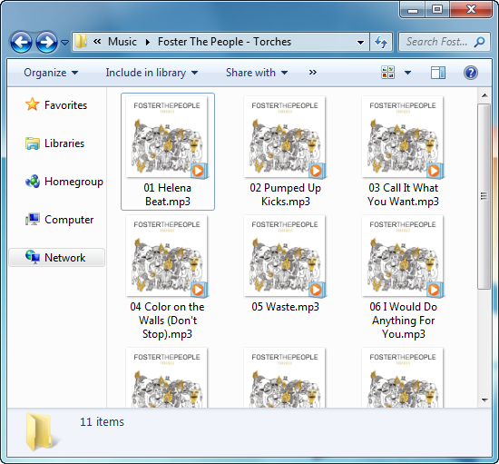 pc folder containing mp3 track files