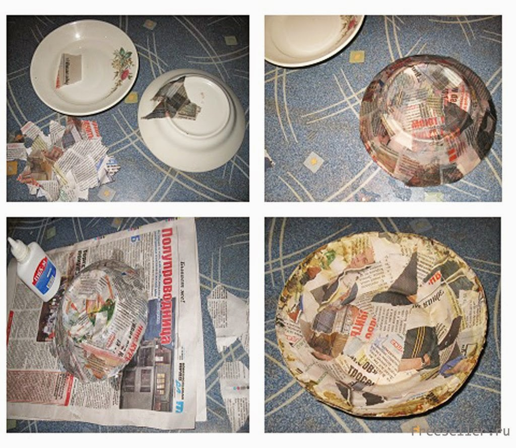 Тарелки из газеты с декоративной росписью