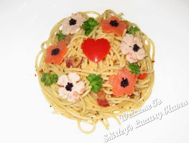 flower garden aglio olio with caviar recipe