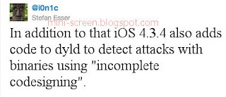 Untethered Jailbreak iOS 4.3.4 (Windows PC or Mac): Can't Because Added dydl Code to Detect INCOMPLETE CODESIGNING