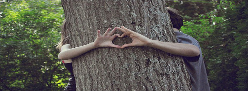 Love Behind Tree And Make Heart