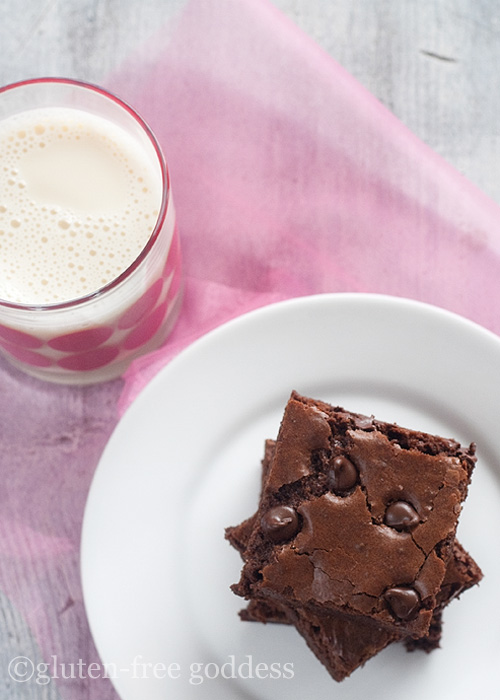 Gluten-free dark chocolate brownies and cold almond milk.