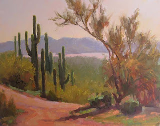Palette knife painters plein air painting in the desert by becky joy