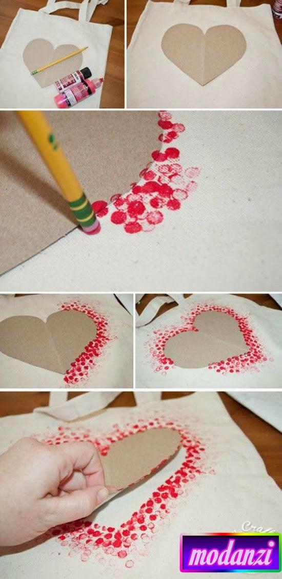 Kumaş Boyası ile Kalp Deseni Hazırlama Resimli Anlatım