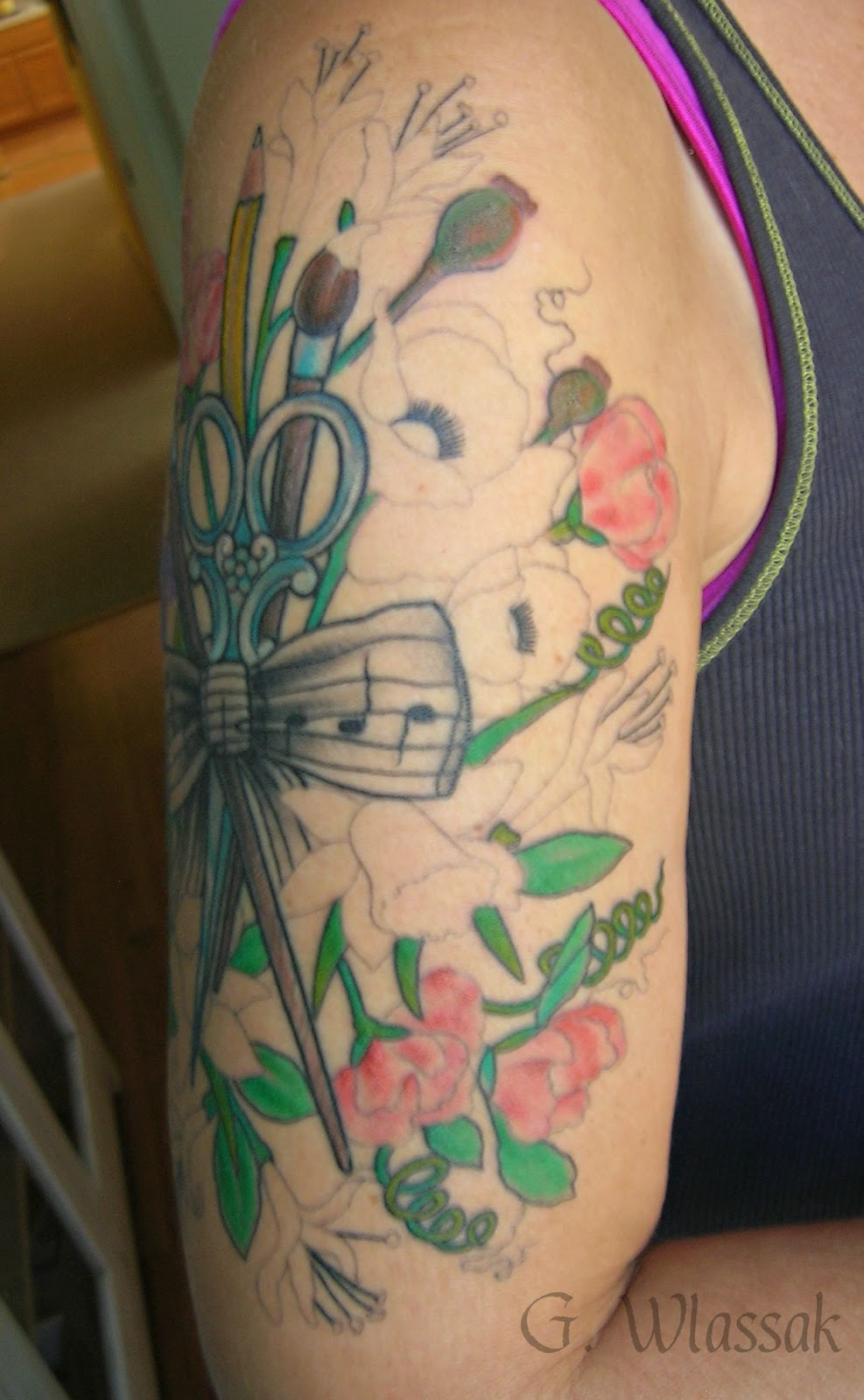Hummingbird And Honeysuckle Tattoo Honeysuckle tattoo and heres the front side