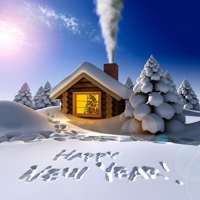 """Postal de invierno con mensaje """"Happy New Year"""" en la nieve"""