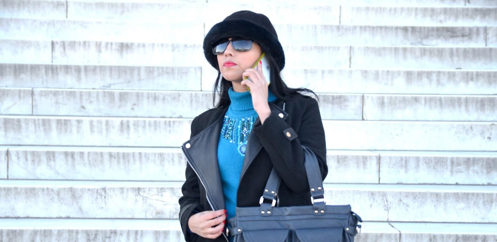 Abrigo Negro y un Toque de Color
