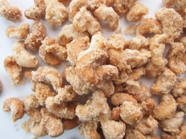 Cinnamon Sugar Coated Cashews.