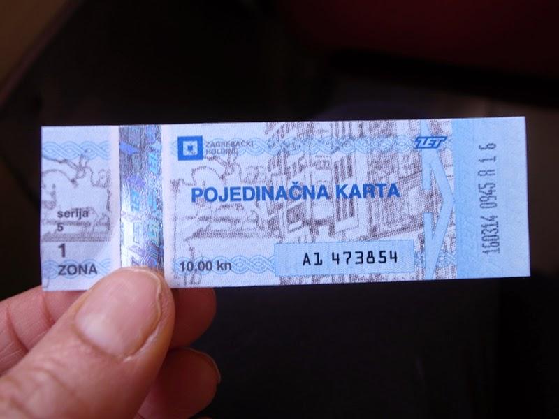 ザグレブのトラムのチケット
