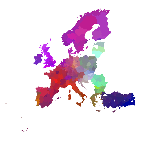 Multivariate analysis of death rate on the map of Europe