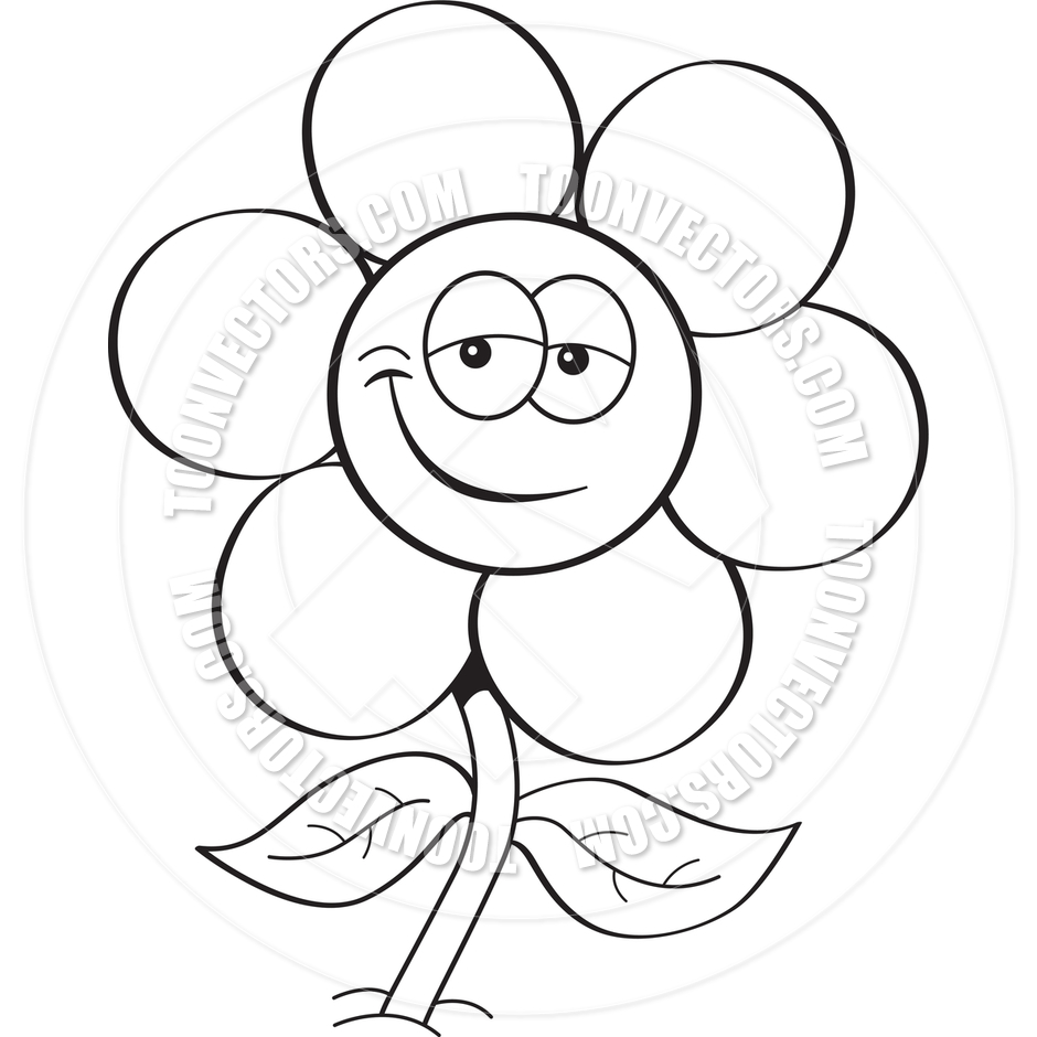 Black And White Cartoon Flowers