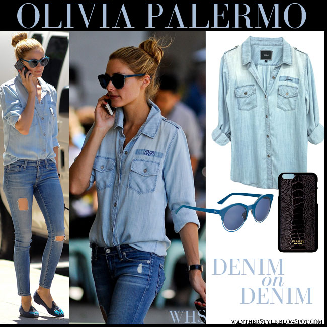 Olivia Palermo in blue monogrammed denim Rails shirt, ripped AG jeans, blue Dior Sideral sunglasses with Vianel leather iphone case what she wore walking her dog july 2015