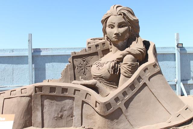 Frozen Elsa sand sculpture at Weston sand festival 2015