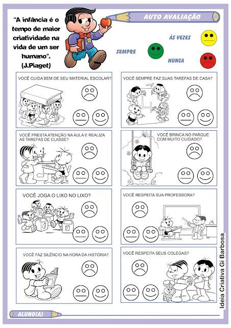 Ficha de Auto Avaliação do Aluno Ilustrada