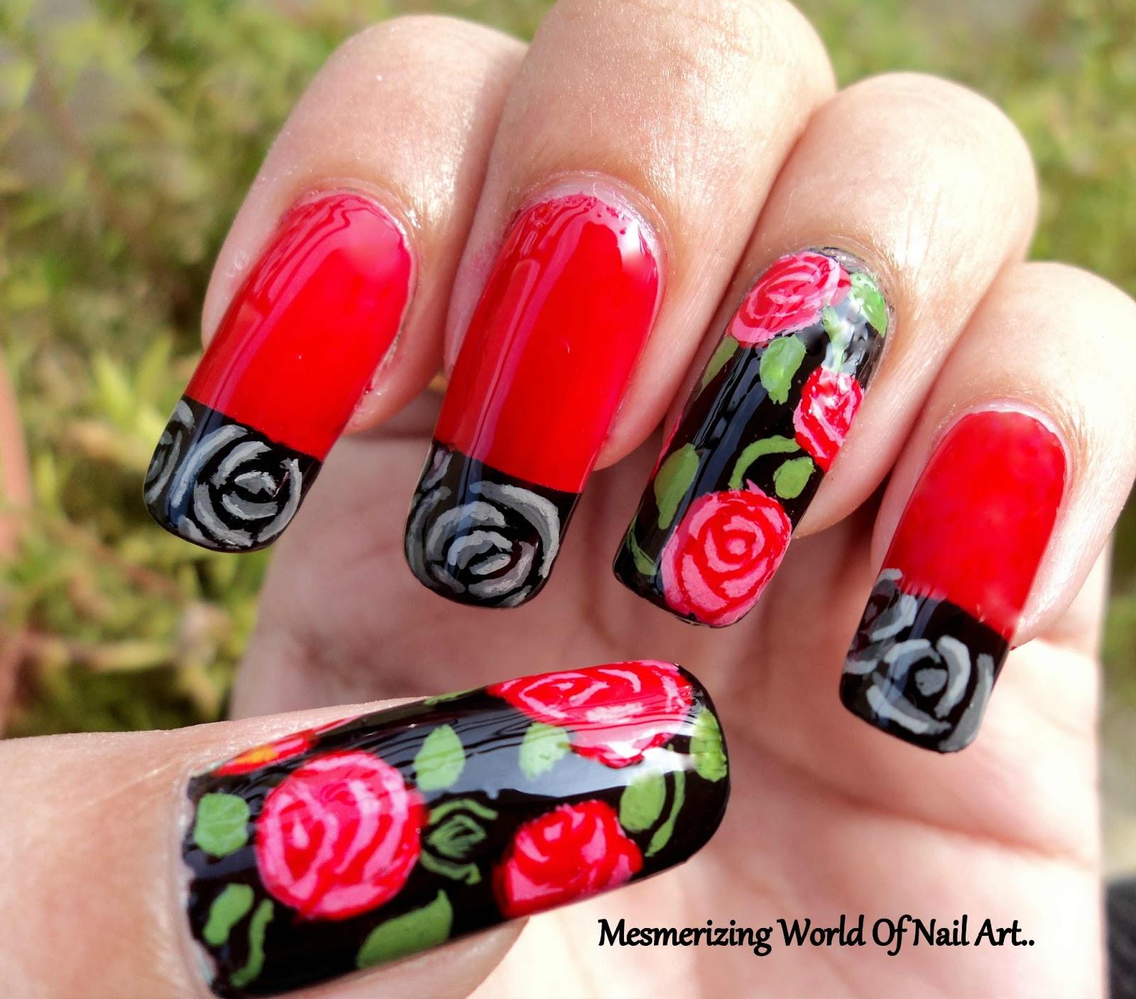 Mesmerizing World Of Nail Art...: Freehand Rose Nail Art