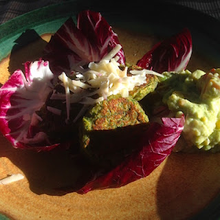 Falafel with Guacamole Spread by Future Relics Pottery