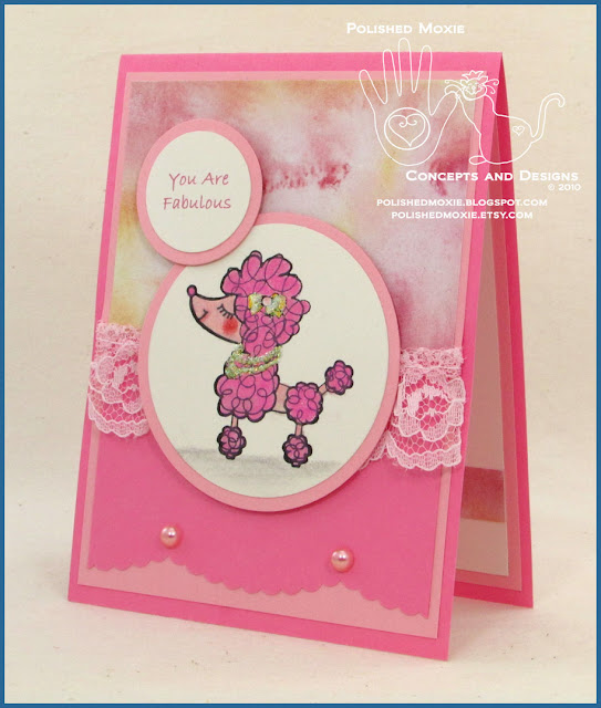 Picture of the front of my handmade pink poodle card facing left.