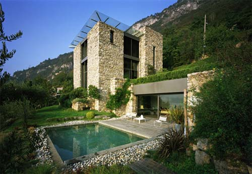 Interior home decoration italian houses pictures for Modern stone houses architecture