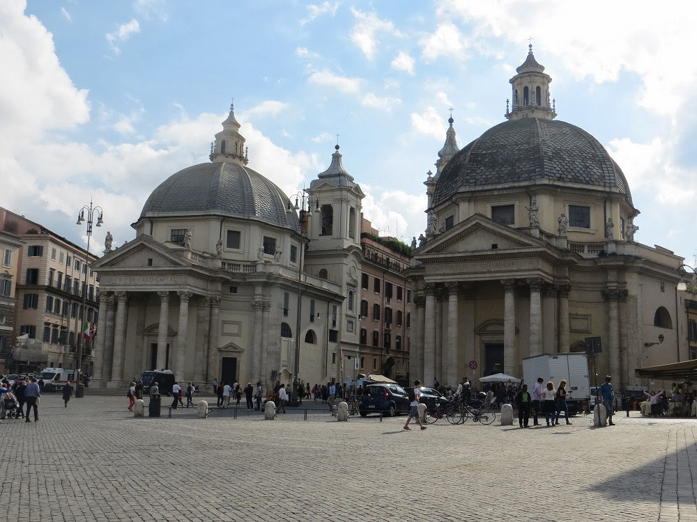 Twin Baroque Churches, Piazza del Popolo, Rome, Italy