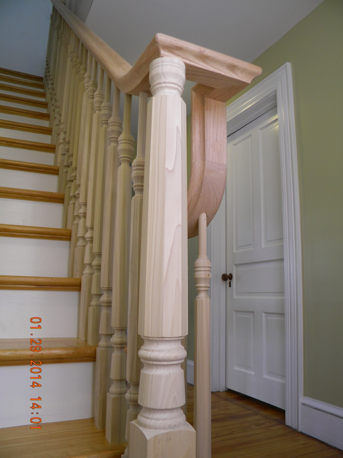 wood stairs and rails and iron balusters install wood. Black Bedroom Furniture Sets. Home Design Ideas