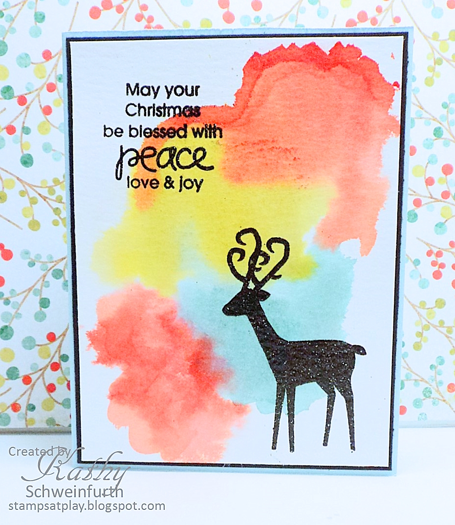 Stamps At Play Merry Monday Christmas Card Challenge 172 Watercolor