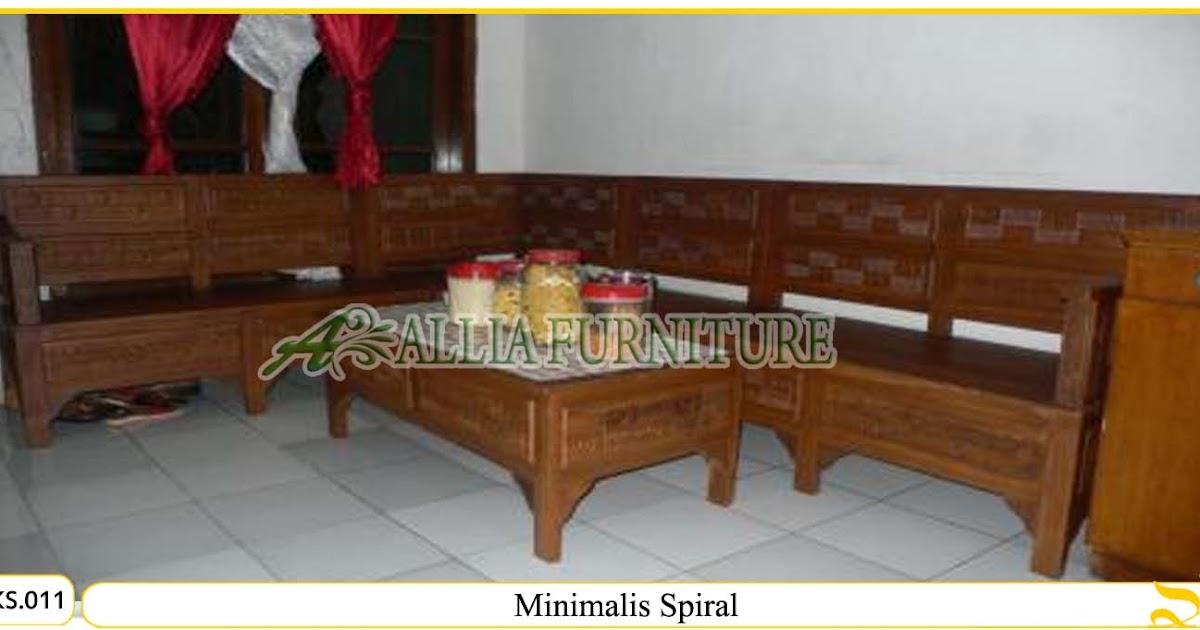 kursi sudut tamu ukiran minimalis spiral allia furniture