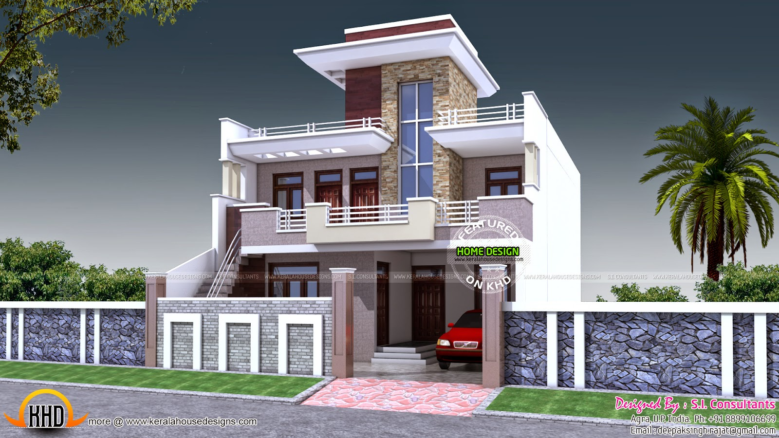 30 Feet Front Elevation : House plan india kerala home design and floor plans