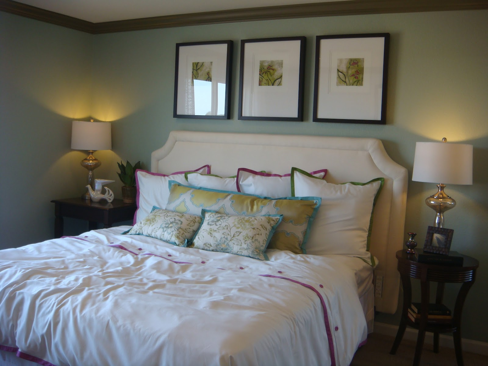 Magenta and lime parade of homes house 1 Master bedroom light blue walls