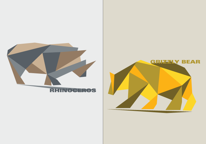 Illustrations of Endangered Animals in South Africa and Canada: Rhinoceros and Grizzly Bear.