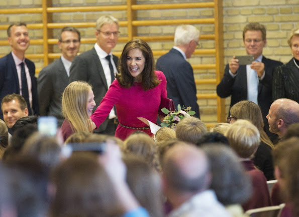 Crown Princess Mary chose a Goat Nesta Wool-Crepe Dress in Fuchsia for Global Education opening ceremony