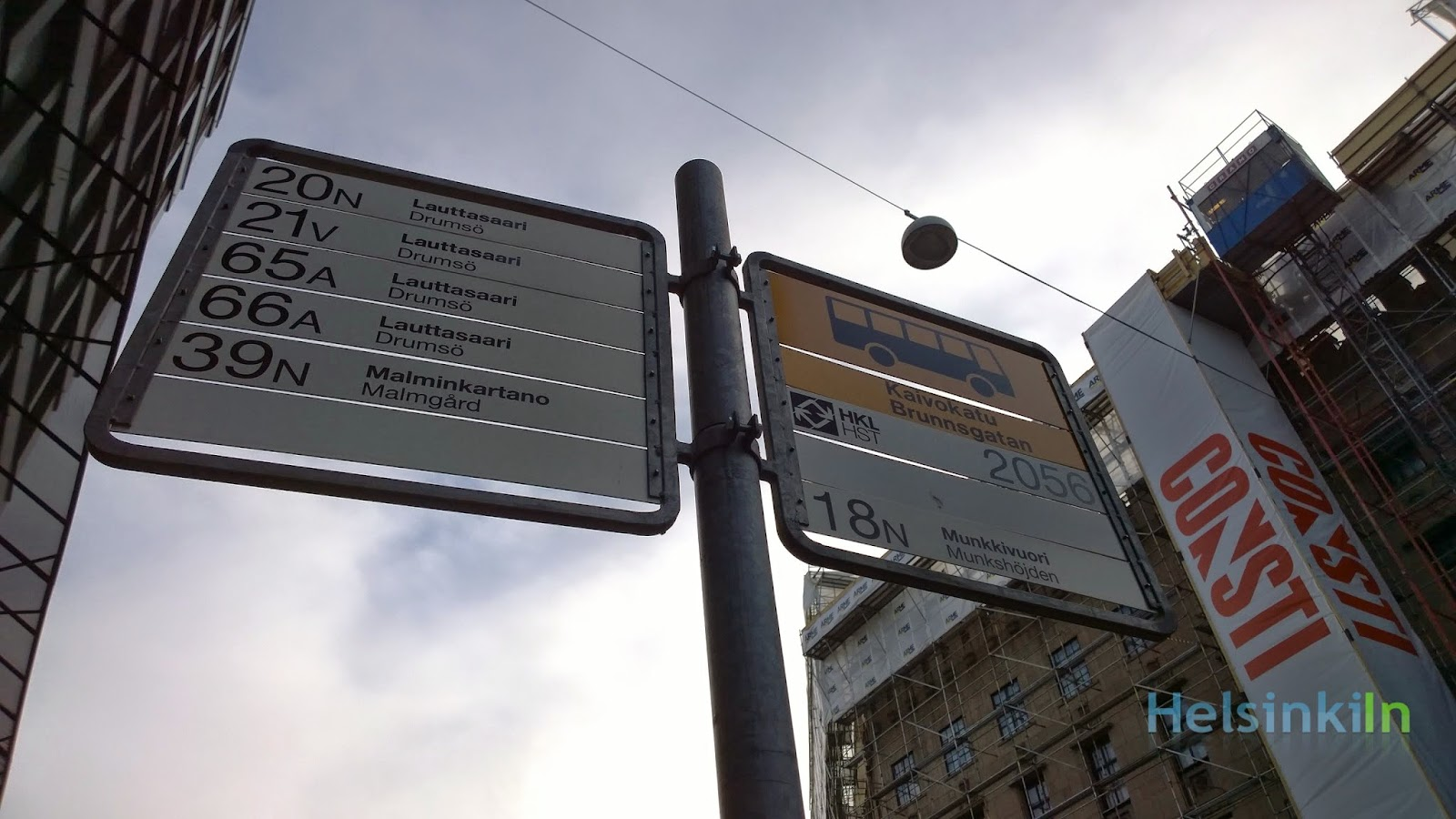 bus stop in the center of Helsinki