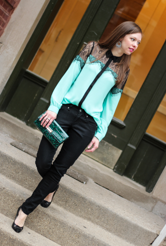 StyleSidebar - Mint and Black Lace Blouse, Black Jeans